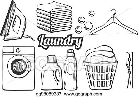 Eps illustration laundry icons set vector clipart for Laundry coloring pages
