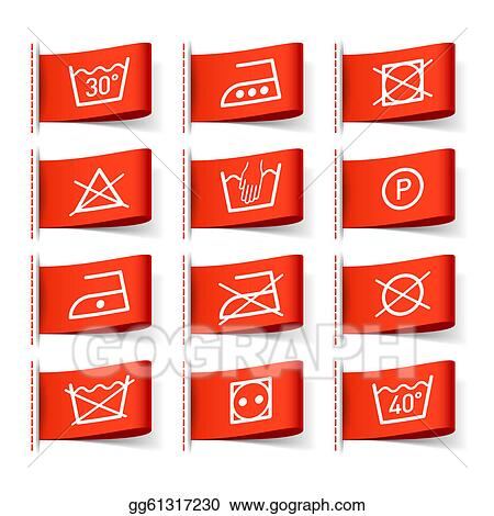 Vector Stock Laundry Symbols On Clothing Labels Clipart