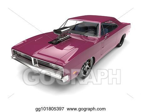 Drawing Lavender Purple Vintage American Muscle Car Clipart