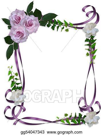 stock illustration lavender roses wedding invitation border - Wedding Invitation Borders