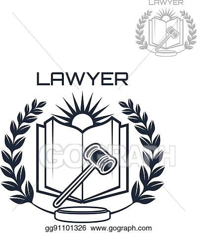 Vector Art Lawyer Vector Emblem Of Wreath Book And Gavel Clipart