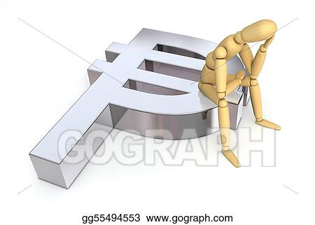 Stock Illustration Lay Figure Sitting On Peso Symbol Clipart
