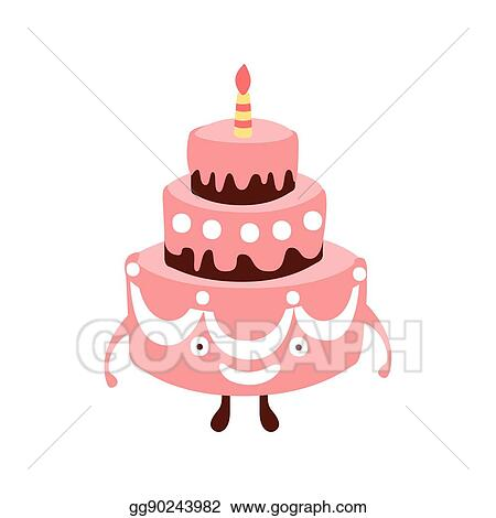 Vector Art Layered Big Cake With One Candle Children Birthday