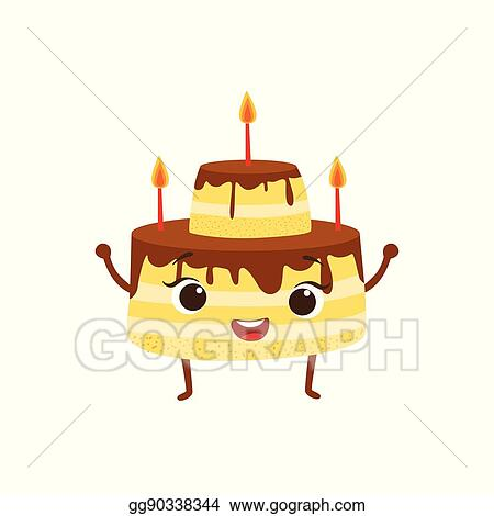 Prime Vector Illustration Layered Birthday Cake With Candles And Funny Birthday Cards Online Alyptdamsfinfo