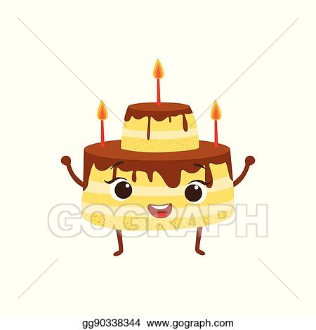 Surprising Vector Illustration Layered Birthday Cake With Candles And Personalised Birthday Cards Veneteletsinfo