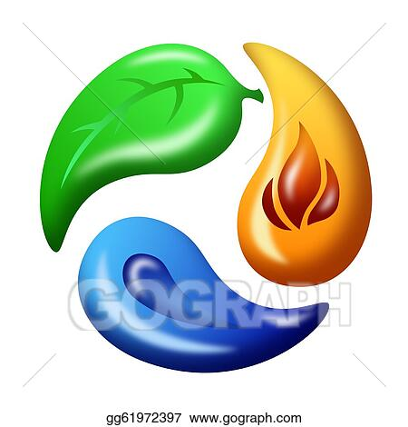 Stock Illustrations Leaf Fire And Water Recycle Symbol Stock