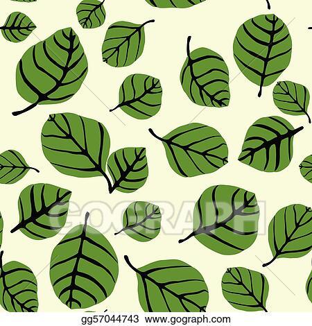 Leaf pattern. Vector art shapes seamless