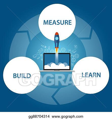 Vector Illustration - Lean start-up build learn measure rocket