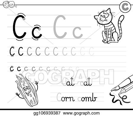Vector Stock Learn To Write Letter C Workbook For Children