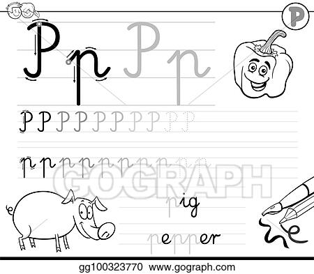 Vector Illustration Learn To Write Letter P Workbook For Kids