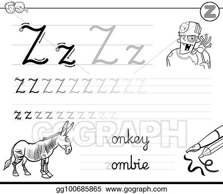 Eps Vector Learn To Write Letter Z Workbook For Kids Stock