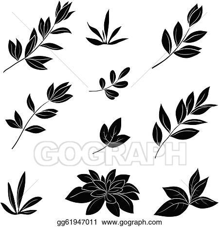 Leaves silhouette. Vector art black silhouettes