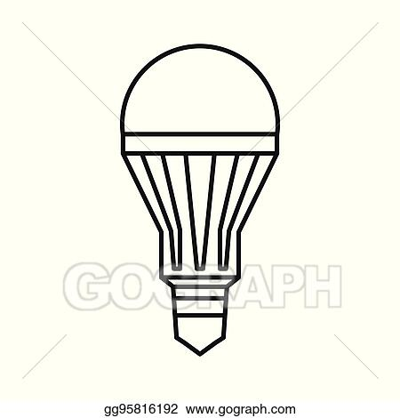 vector art led bulb icon outline style clipart drawing gg95816192 gograph https www gograph com clipart license summary gg95816192