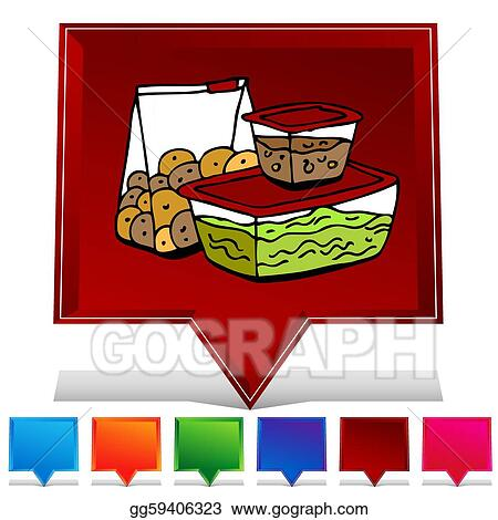 Vector Stock Leftover food storage container gemstone button set