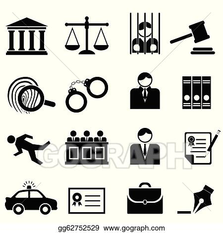 Vector Illustration Legal Law And Justice Icons Stock Clip Art