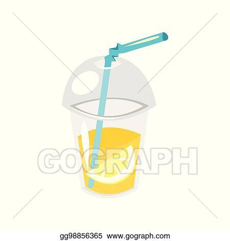 Vector Art - Lemonade in plastic cup  Clipart Drawing