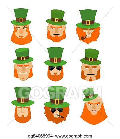 07b8d167dd85c Leprechaun set head. Funny and serious facial leprechauns. Big Red Beard. Green  Hat cylinder. Pipe and cigar. Sign St. Patrick s Day celebration in Ireland