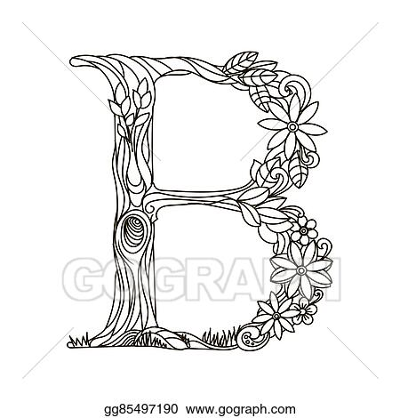 Eps Illustration Letter B Coloring Book For Adults Vector Vector