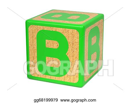 letter b on childrens alphabet block