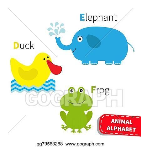 eps vector letter d e f duck elephant frog zoo alphabet english