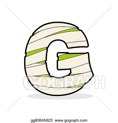 Vector Stock Letter G Mummy Typography Icon In Bandages Egyptian