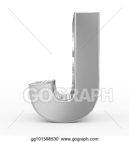 Drawing Letter J 3d Silver Isolated On White Clipart Drawing
