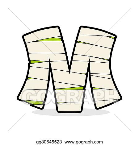 vector art letter m mummy typography icon in bandages horrible