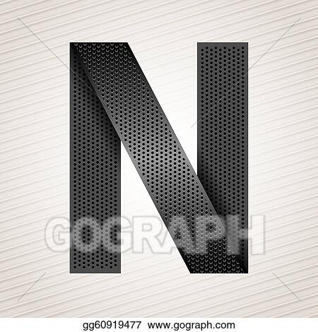 Vector Art Letter Metal Ribbon N Clipart Drawing Gg60919477