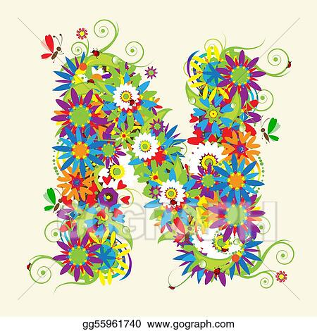 Eps Vector Letter N Floral Design See Also Letters In My Gallery