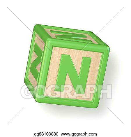 Stock Illustration Letter N Wooden Alphabet Blocks Font Rotated