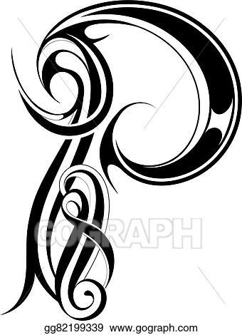 Eps Illustration Letter P Gothic Style Vector Clipart Gg82199339