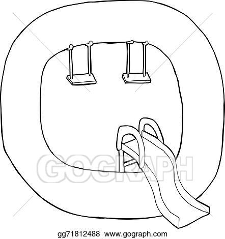vector illustration letter q playground outline stock clip art
