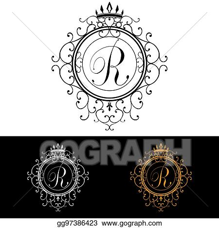 letter r luxury logo template flourishes calligraphic elegant ornament lines business sign identity for restaurant royalty boutique hotel heraldic