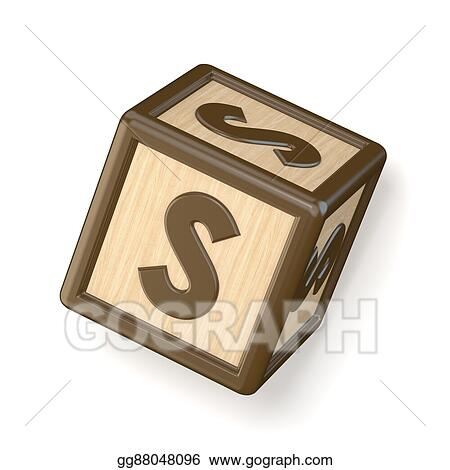 letter s wooden alphabet blocks font rotated 3d