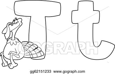 Vector Art Letter T Turkey Outlined Clipart Drawing Gg62151233