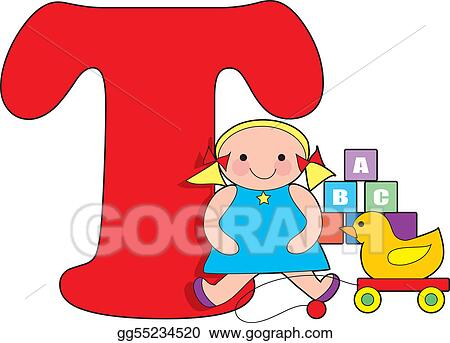 stock illustration letter t with toys clipart drawing gg55234520 rh gograph com letter t clipart images letter t clipart images