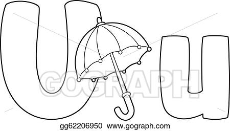 Vector Art Letter U Umbrella Outlined Eps Clipart Gg62206950