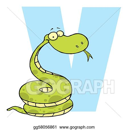 vector stock letter v with a viper clipart illustration rh gograph com viper clipart black and white viper head clipart