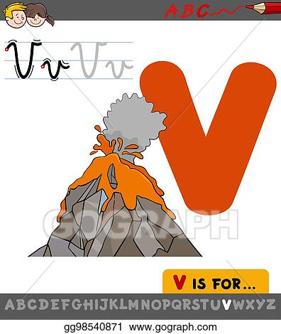 V Is For Volcano Clipart Vector Art - Le...