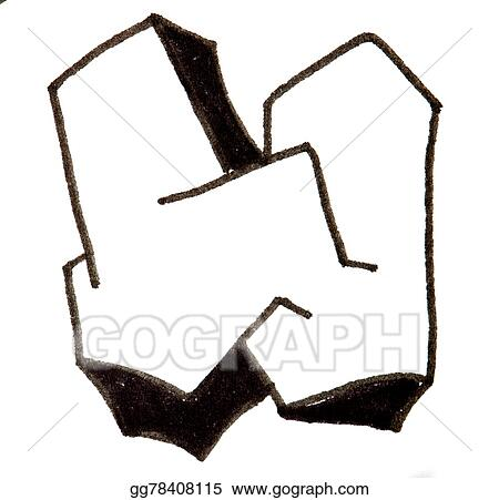 Clipart Letter W Alphabet In Graffiti Style Stock Illustration