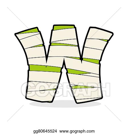 Vector Illustration Letter W Mummy Typography Icon In Bandages