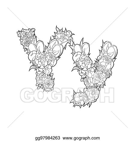 Eps Vector Letter Y Made Of Flowers Stock Clipart Illustration