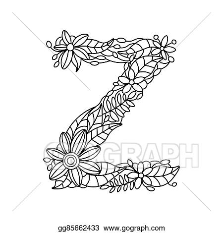Vector Art - Letter z coloring book for adults vector. EPS clipart ...