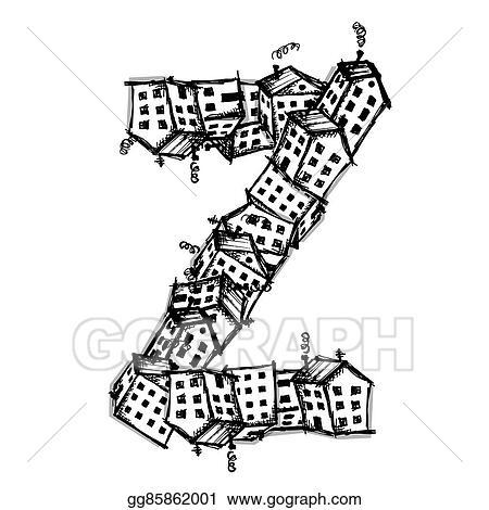 EPS Vector - Letter z made from houses, vector alphabet design