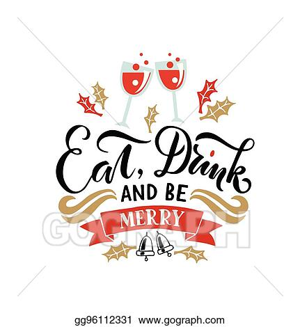 lettering eat drink and be merry for christmasnew year greeting card invitation new 2017 year banner poster