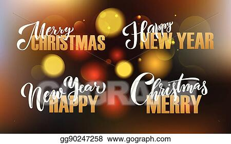 vector illustration lettering merry christmas happy new year for christmas new year greeting card invitation template stock clip art gg90247258 gograph lettering merry christmas happy