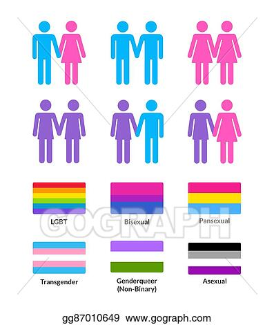 eps vector lgbt flags and symbols set stock clipart illustration