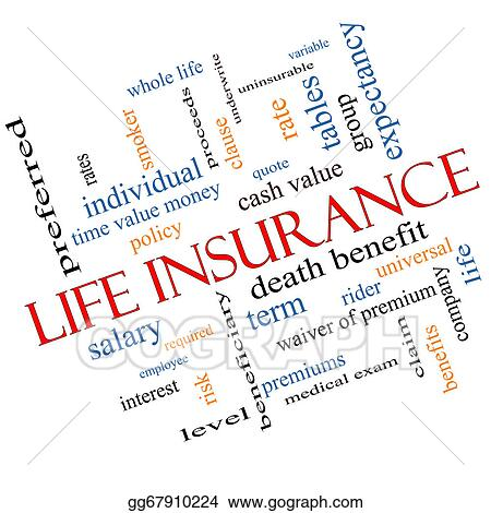 Stock Illustrations - Life insurance word cloud concept