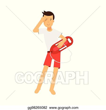 f84b8e4304d5 Lifeguard man character on duty standing with life preserver buoy and  looking into the distance vector Illustration