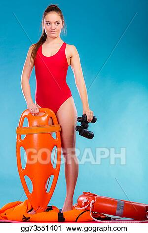 82c77e7bb0d Stock Photo - Lifeguard on duty holds binocular. Stock Photos ...